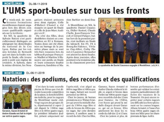 Le Dauphiné Libéré du 06-11-2019- Le Sport de Montélimar