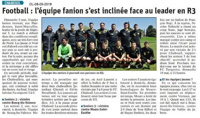 Le Dauphiné Libéré du 08-05-2019- Football de Chabeuil
