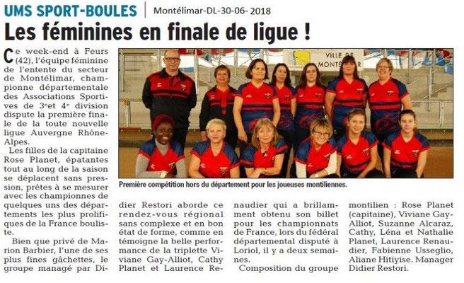 Dauphiné Libéré du 30-06-2018- Sport-Boules féminines Montélimar
