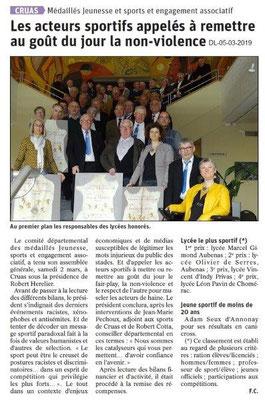 Le Dauphiné Libéré du 05-03-2019- AG du CDMJSEA 07
