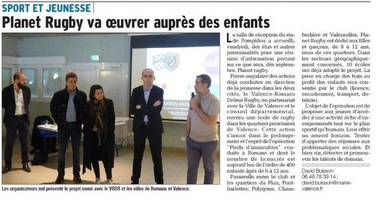 Dauphiné Libéré du 01-04-2018 Projet école de rugby-Valence