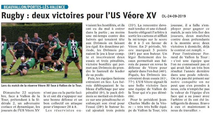 Dauphiné libéré du 24-09-2019- Rugby Véore XV PLV