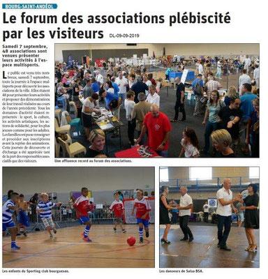 Dauphiné libéré du 09-09-2019- Forum des associations de BSA