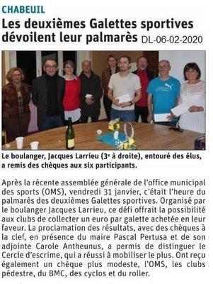 Le Dauphiné Libéré du 06-02-2020- Galette Chabeuil OMS