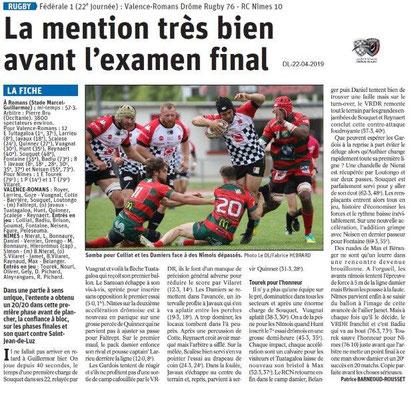 Le Dauphiné Libéré du 22-04-2019- Drôme Rugby