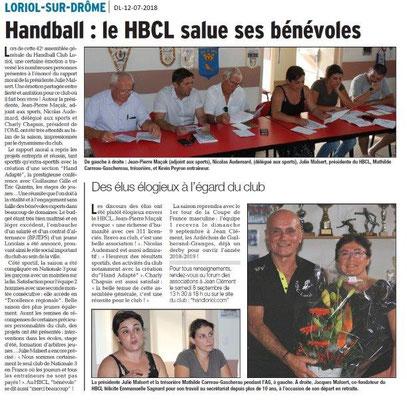 Dauphiné Libéré du 12-07-2018- Handball à Loriol