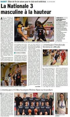 Dauphiné Libéré du 29-06-2018- Sports à Annonay