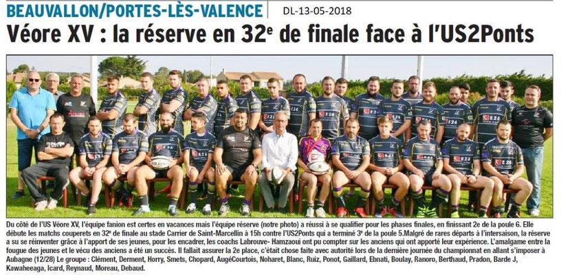 Dauphiné Libéré du 13-05-2018-US Véore XV- Portes-lès-Valence