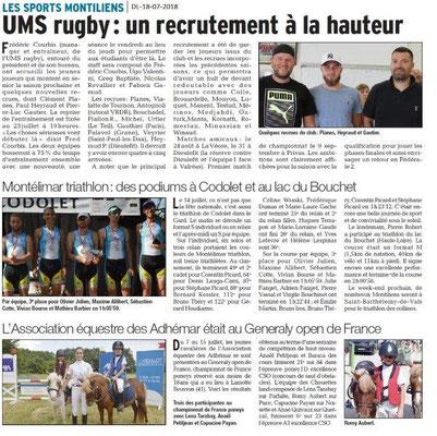 Dauphiné Libéré du -18-07-2018- Sports Montiliens