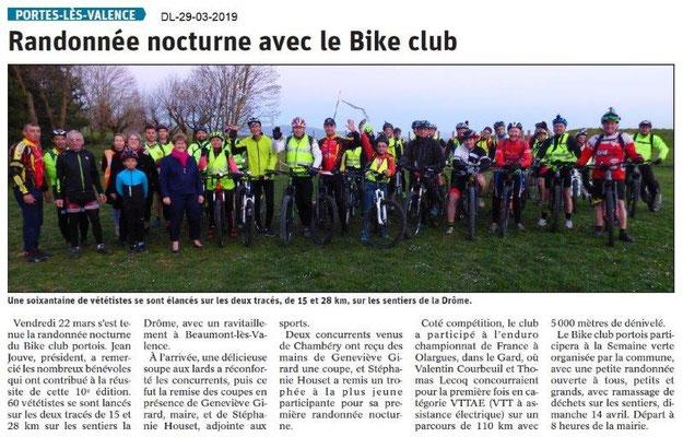 Le Dauphiné Libéré du 29-03-2019- BIKE CLUB de PLV