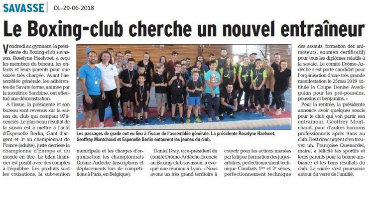 Dauphiné Libéré du 29-06-2018- Boxing-club de Savasse