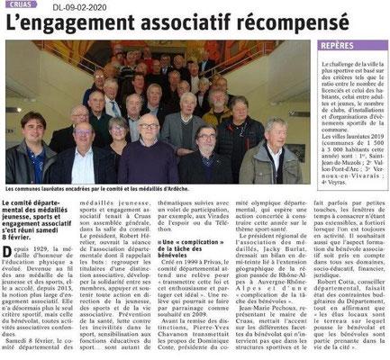 Le Dauphiné Libéré du 09-02-2020- AG CD 07 MJSEA
