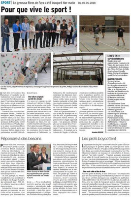 Dauphiné Libéré du 06-05-2018-Gymnase Rives de Faya inauguré- Annonay