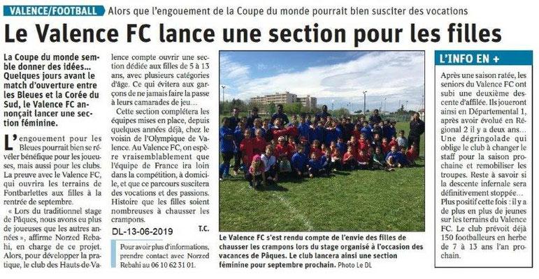 Dauphiné Libéré du 13-06-2019- FC Valence filles