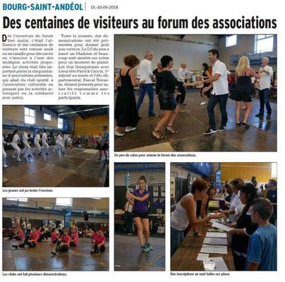 Dauphiné Libéré du 10-09-2018- Forum avec Bourg Saint-Andéol