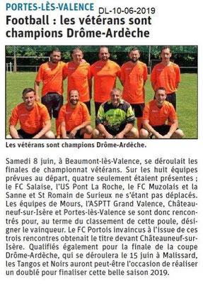 Dauphiné Libéré du 10-06-2019- Football vétérans PLV