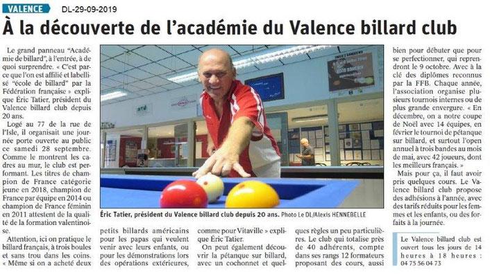 Dauphiné libéré du 29-09-2019- Billard Club de Valence