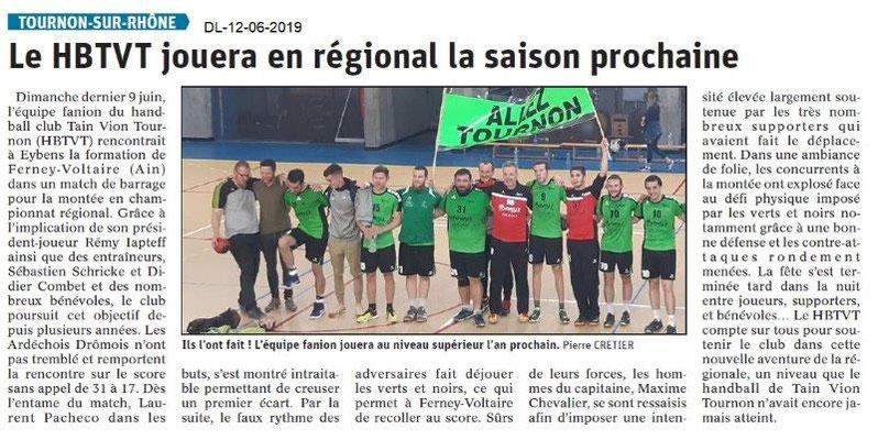 Dauphiné Libéré du 12-06-2019- Handball Tain Vion Tournon