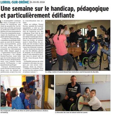 Dauphiné Libéré du 03-05-2018-Une semaine Handicap-Loriol