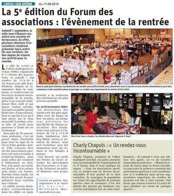 Dauphiné Libéré du 17-08-2019- Septembre- 5ième Forum à Loriol.