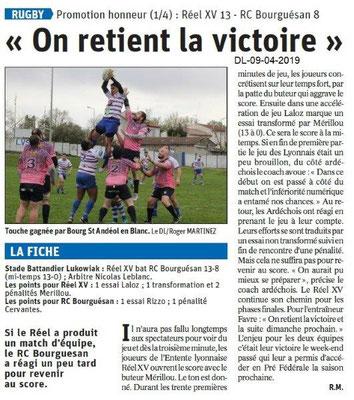 Le Dauphiné Libéré du 09-04-2019- Rugby bourguésan
