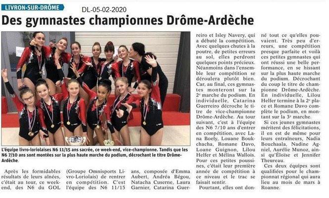 Le Dauphiné Libéré du 05-02-2020- Gym 7-10 ans vice-championne