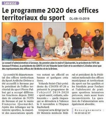 Dauphiné libéré du 08-10-2019- CA CDOTS 07-26 à Savasse