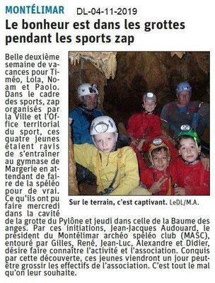 Le Dauphiné Libéré du 04-11-2019- Sport Zap Spélé Montélimar