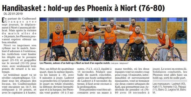 Dauphiné Libéré du 22-01-2019- Handbasket de Guilherand