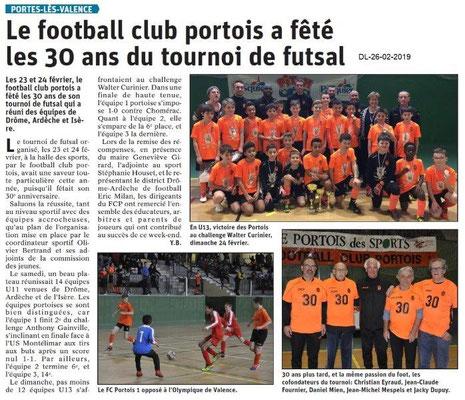 Dauphiné Libéré du 26-02-2019- Futsal à PLV