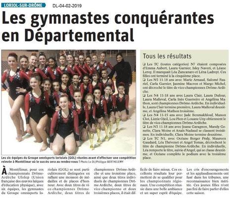 Dauphiné Libéré du 04-02-2019- Les gymnastes de Loriol