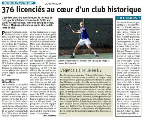 Dauphiné libéré du 01-10-2019- Tennis de Bourg de Péage