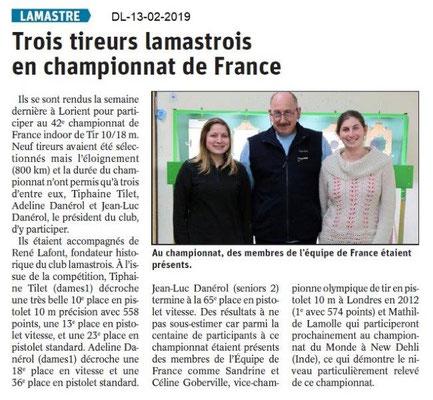 Dauphiné Libéré du 13-02-2019-Cham.France pour les Tireurs de Lamastre