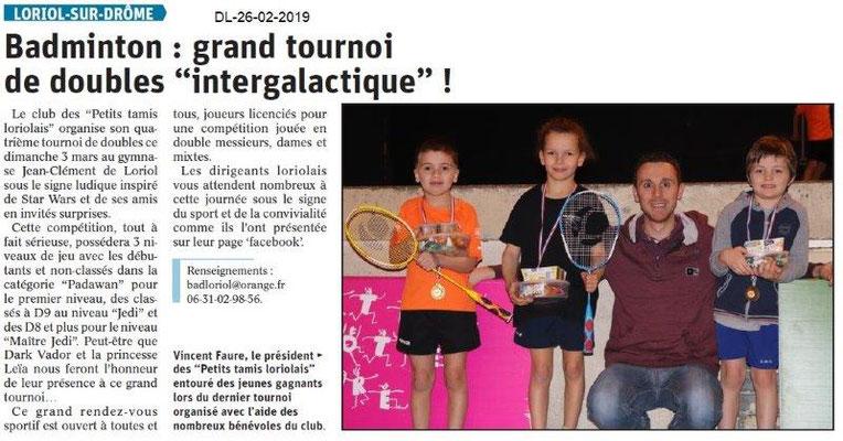 Dauphiné Libéré du 26-02-2019- Tournoi de badminton à Loriol