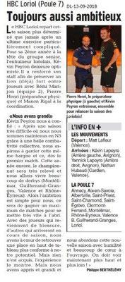 Dauphiné Libéré du 13-09-2018- Loriol Handball Poule 7