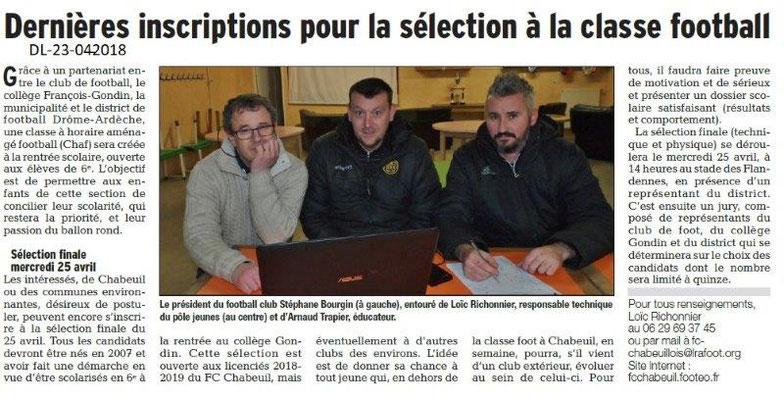 Dauphiné Libéré du 23-04-2018-Inscription école Foot-Chbeuil
