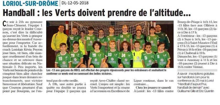 Dauphiné Libéré du 12-05-2018-Handball Loriol-sur-Drôme