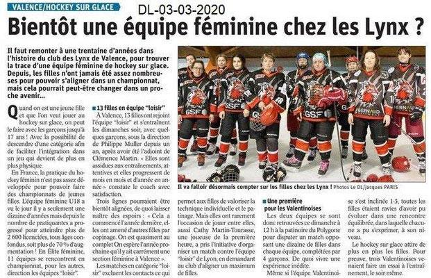 Dauphiné libéré du 03-03-2020- Les Lynx féminines