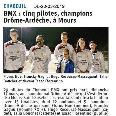 Dauphiné Libéré du 20-03-2019- BMX de Chabeuil