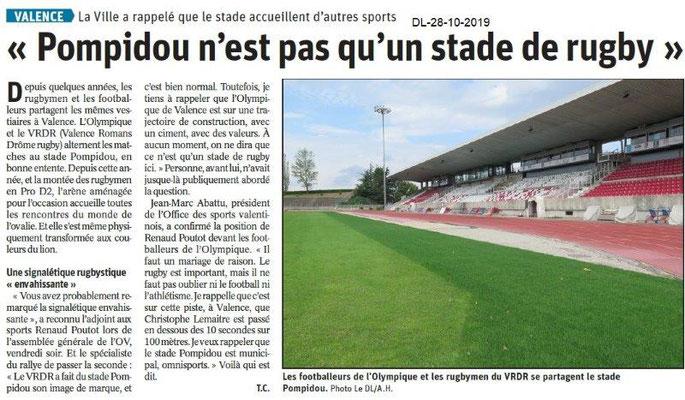 le Dauphiné Libéré du 28-10-2019- Stade Pompidou de Valence
