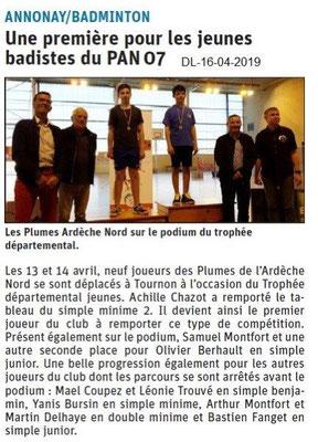 Le Dauphiné Libéré du 16-04-2019- Badminton Annonay