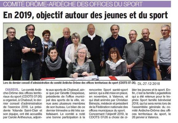 Dauphiné Libéré du 27-12-2018- Chabeuil, CA CDOTS 07-26