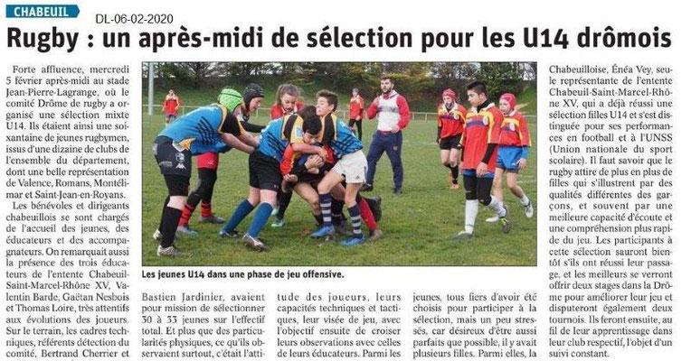 Le Dauphiné Libéré du 06-02-2020- Rugby Chabeuil