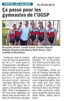 Dauphiné Libéré du 20-03-2019- UGSP GYM Portois