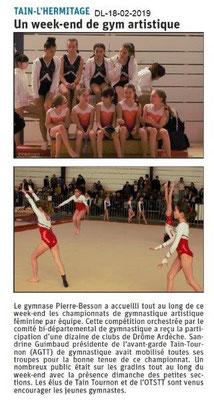 Dauphiné Libéré du 18-02-2019- Gym artistique à Tain-l'Hermitage