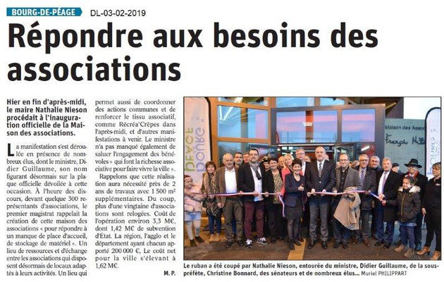 Dauphiné Libéré du 03-02-2019- Inauguration Maison des Bénévoles Bourg de Péage