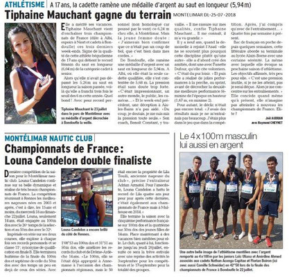 Dauphiné Libéré du 25-07-2018- Champions à Montélimar