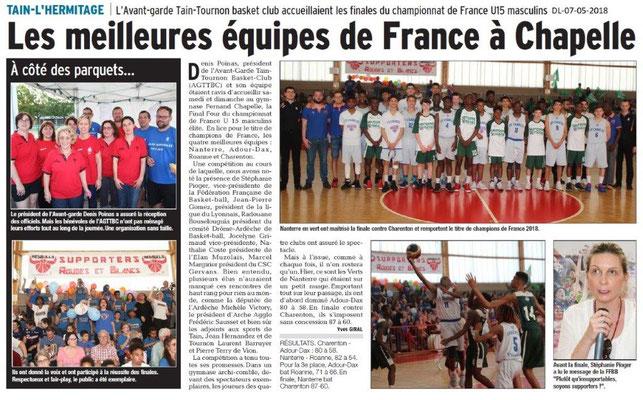 Dauphiné Libéré du 07-05-2018-Basket- Tain-l'Hermitage