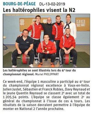 Dauphiné Libéré du 13-02-2019- Les halterophiles de Bourg de Péage