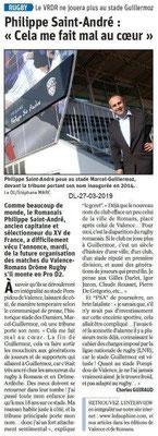 Dauphiné Libéré du 27-03-2019- Les matches RUGBY de PRO D2 à Valence